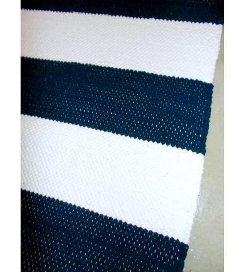 Pamut rongyszőnyeg kék, fehér 160 x 225 cm