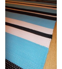 Pamut rongyszőnyeg kék, fekete, fehér 85 x 170 cm