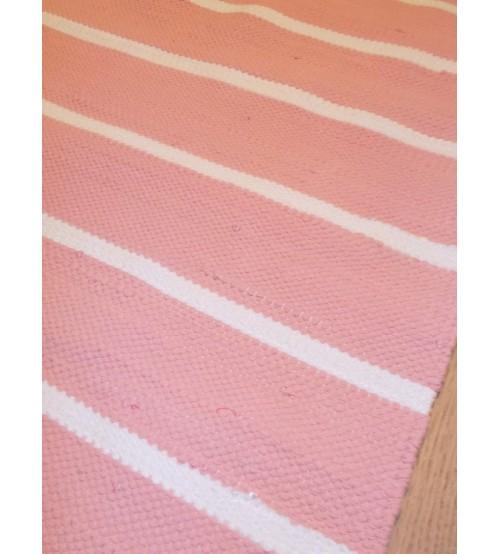 Pamut rongyszőnyeg rózsaszín, fehér 75 x 115 cm