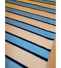 Pamut rongyszőnyeg kék, nyers 90 x 190 cm