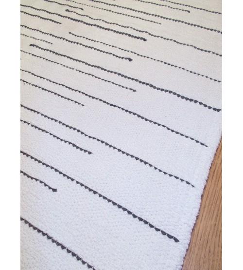 Pamut rongyszőnyeg fehér, szürke 65 x 155 cm