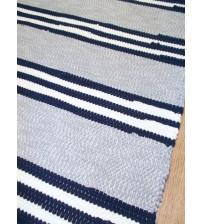 Pamut rongyszőnyeg szürke, kék, nyers 75 x 185 cm