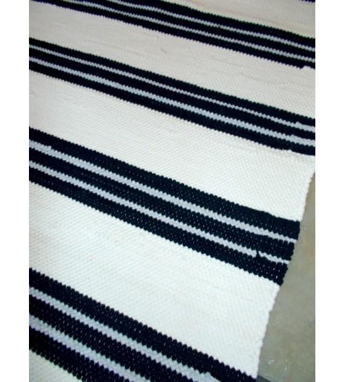 Pamut rongyszőnyeg fehér, kék 75 x 200 cm