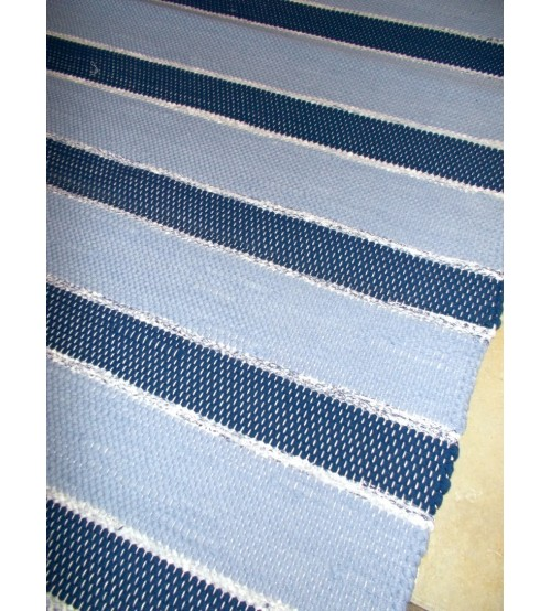 Pamut rongyszőnyeg kék 90 x 225 cm