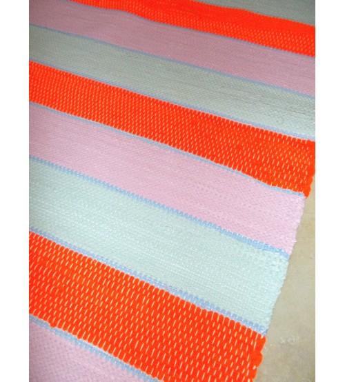 Pamut rongyszőnyeg sárga, kék, rózsaszín 90 x 190 cm