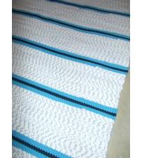 Pamut rongyszőnyeg fehér, kék 70 x 125 cm