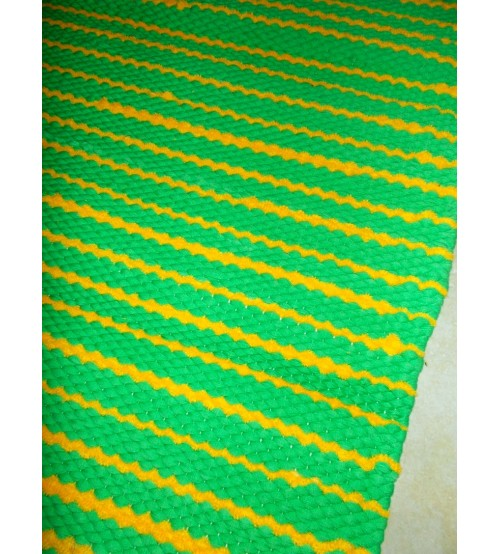 Pamut rongyszőnyeg zöld, sárga 60 x 75 cm