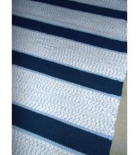 Pamut rongyszőnyeg kék, fehér 60 x 175 cm