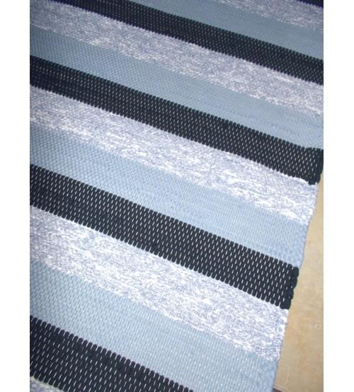Pamut rongyszőnyeg kék, fekete 60 x 210 cm