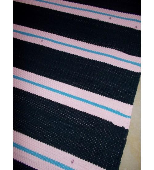 Pamut rongyszőnyeg kék, rózsaszín 85 x 185 cm
