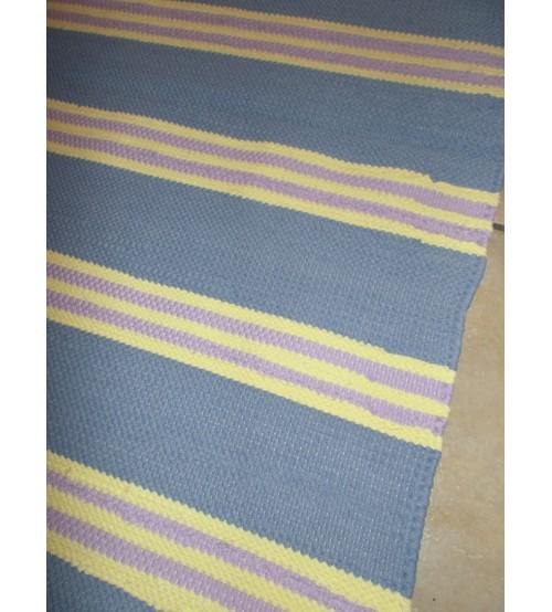 Pamut rongyszőnyeg kék, sárga, lila 75 x 200 cm