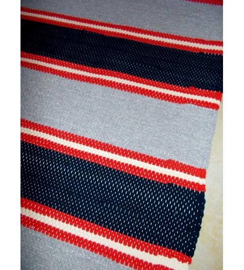 Pamut rongyszőnyeg szürke, fekete, piros 80 x 135 cm