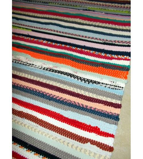 Pamut rongyszőnyeg színes 80 x 165 cm
