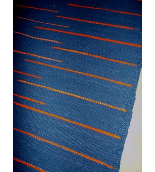 Pamut rongyszőnyeg kék, sárga 90 x 135 cm