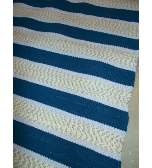 Pamut rongyszőnyeg kék, nyers 80 x 115 cm