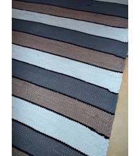 Pamut rongyszőnyeg szürke, barna, kék 85 x 170 cm