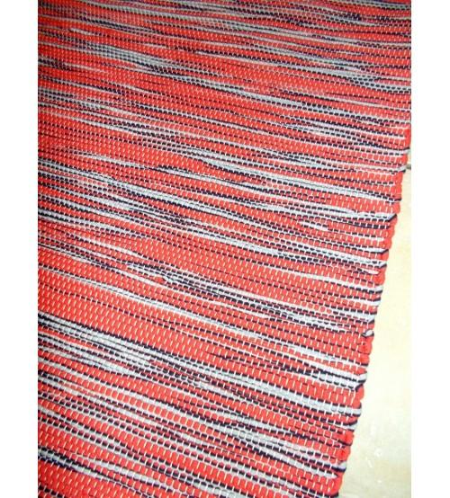 Pamut rongyszőnyeg piros, szürke 80 x 185 cm