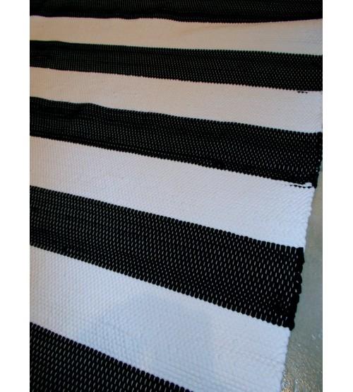 Pamut rongyszőnyeg fekete, fehér 160 x 205 cm