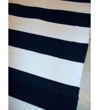 Pamut rongyszőnyeg fekete, nyers 80 x 180 cm