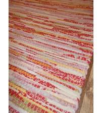 Vászon rongyszőnyeg piros, zöld, sárga 75 x 200 cm
