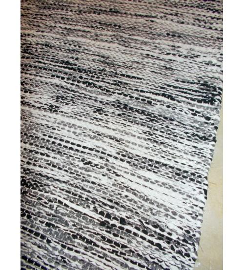 Vászon rongyszőnyeg fekete, fehér 75 x 170 cm