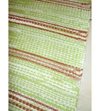 Vászon rongyszőnyeg zöld, fehér, barna 75 x 175 cm