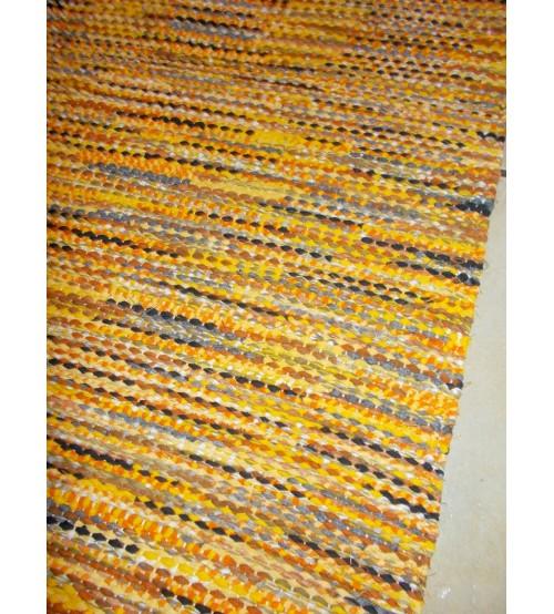Vászon rongyszőnyeg sárga, szürke 75 x 175 cm