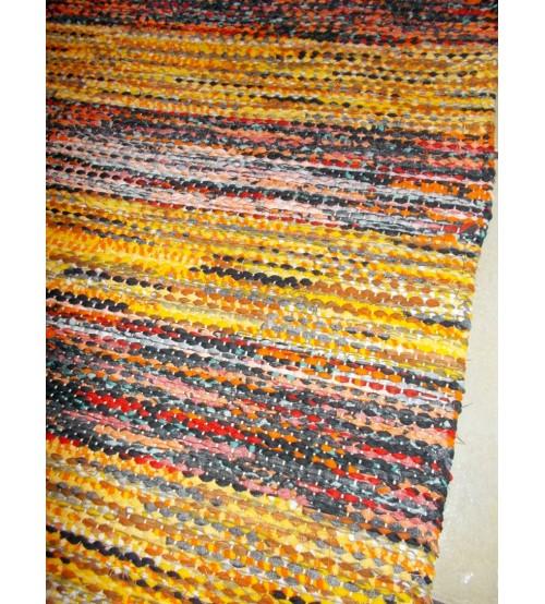 Vászon rongyszőnyeg sárga, piros 75 x 185 cm
