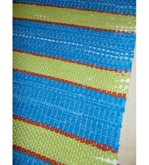Vászon rongyszőnyeg kék, zöld 75 x 170 cm