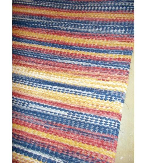 Vászon rongyszőnyeg kék, piros, sárga 75 x 150 cm