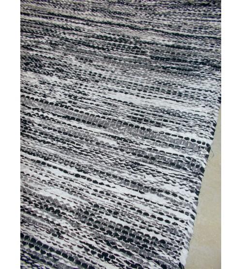 Vászon rongyszőnyeg szürke 70 x 160 cm
