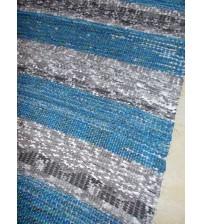 Vászon rongyszőnyeg kék, szürke 70 x 165 cm