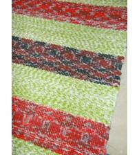 Vászon rongyszőnyeg zöld, piros, bordó 70 x 170 cm