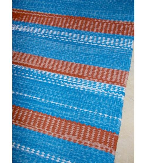 Vászon rongyszőnyeg kék, barna 75 x 160 cm