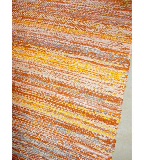 Vászon rongyszőnyeg sárga 70 x 225 cm