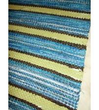 Vászon rongyszőnyeg kék, zöld 70 x 155 cm