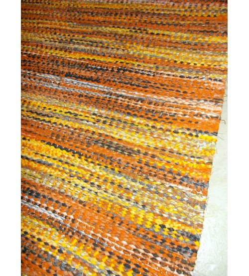 Vászon rongyszőnyeg sárga, fekete 80 x 150 cm