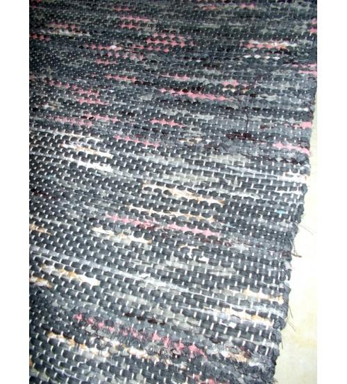 Vászon rongyszőnyeg szürke, rózsaszín 70 x 105 cm