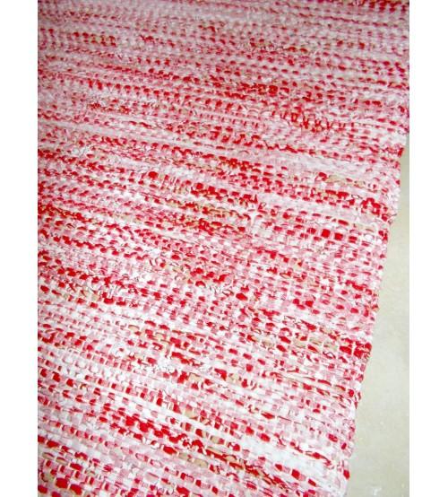Vászon rongyszőnyeg piros, fehér 75 x 165 cm
