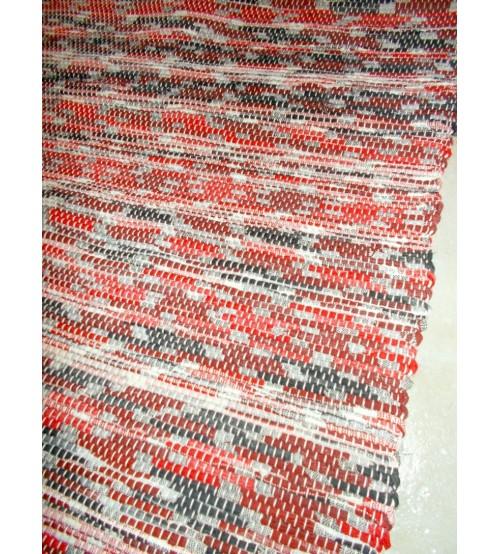 Vászon rongyszőnyeg piros, fekete 155 x 190 cm