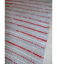Vászon rongyszőnyeg szürke, piros, nyers 65 x 165 cm