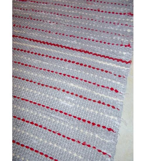 Vászon rongyszőnyeg szürke, piros, nyers 75 x 155 cm