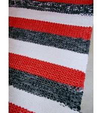 Vászon rongyszőnyeg piros, fehér, szürke 70 x 165 cm