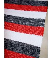Vászon rongyszőnyeg piros, fehér, szürke 70 x 175 cm