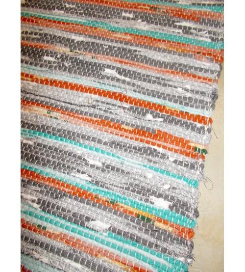 Vászon rongyszőnyeg szürke, barna, kék 70 x 150 cm