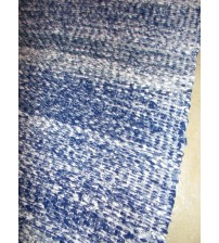 Vászon rongyszőnyeg kék, fehér 40 x 105 cm