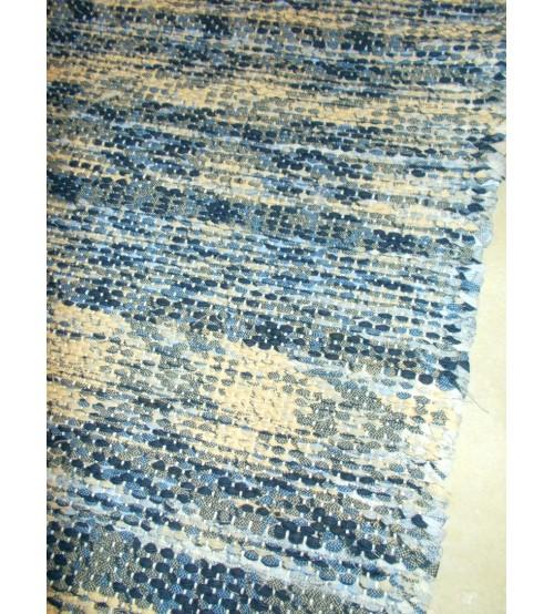 Vászon rongyszőnyeg kék, sárga 70 x 165 cm
