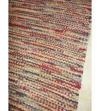 Vászon rongyszőnyeg bordó, barna, szürke 70 x 125 cm