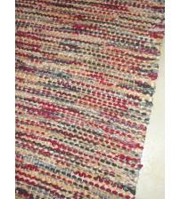 Vászon rongyszőnyeg bordó, barna, szürke 70 x 165 cm