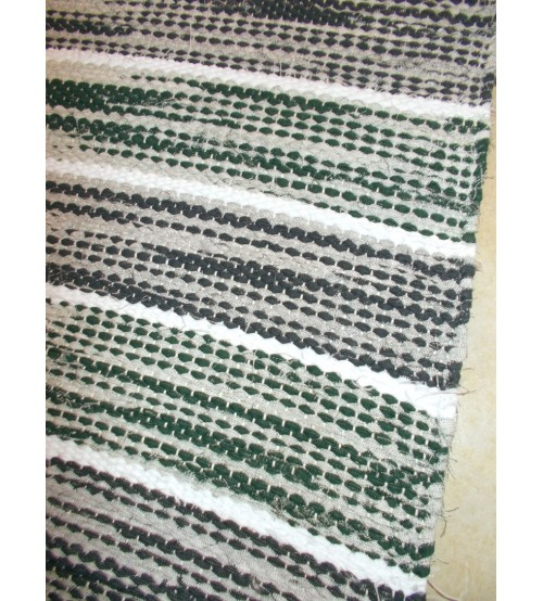 Vászon rongyszőnyeg zöld, szürke 75 x 170 cm